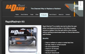 Screenshot of Rapid Rad Drain website